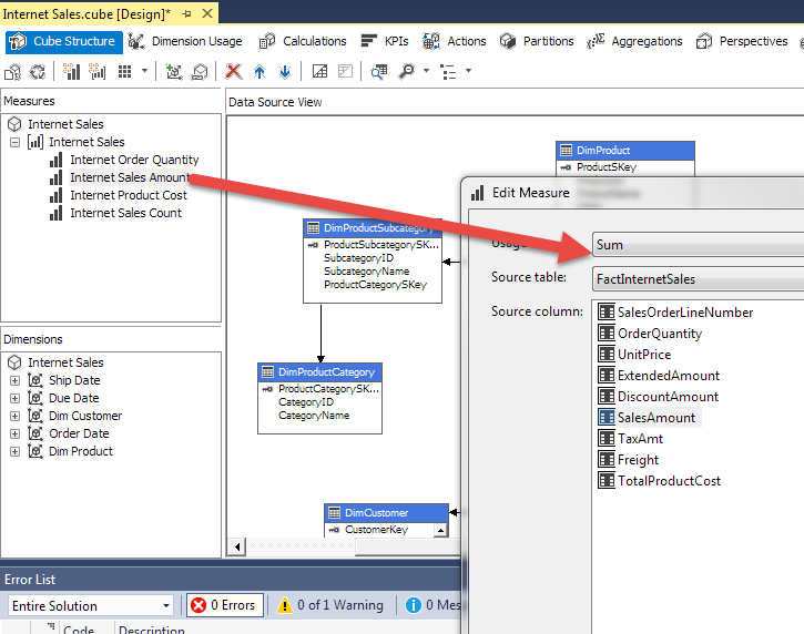 How to create Intermediate Measures in Analysis Services (SSAS)