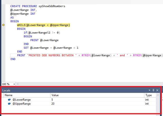SQL Server debugging -the local window