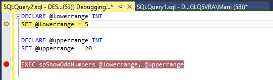 SQL Server debugging in SSMS - the debugger starting in the first line of the script