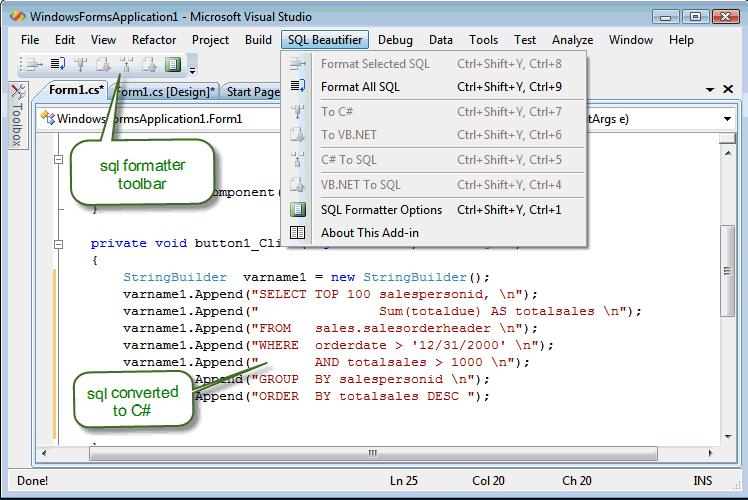 SQL formatter tools