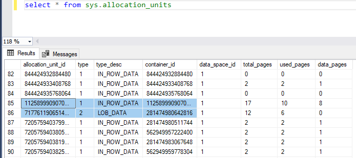 SQL Server Table Structure Overview