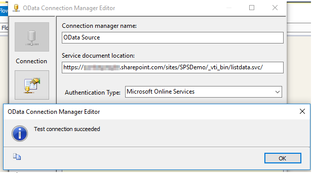 How to configure OData SSIS Connection for SharePoint Online