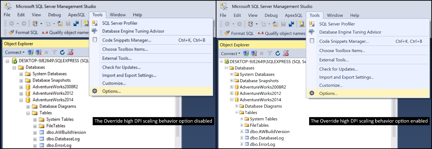 How to enable High-DPI in SSMS (SQL Server Management Studio) – Tips