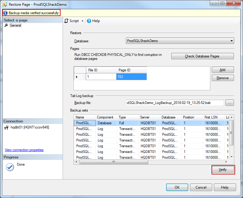 How to perform a page level restore in SQL Server