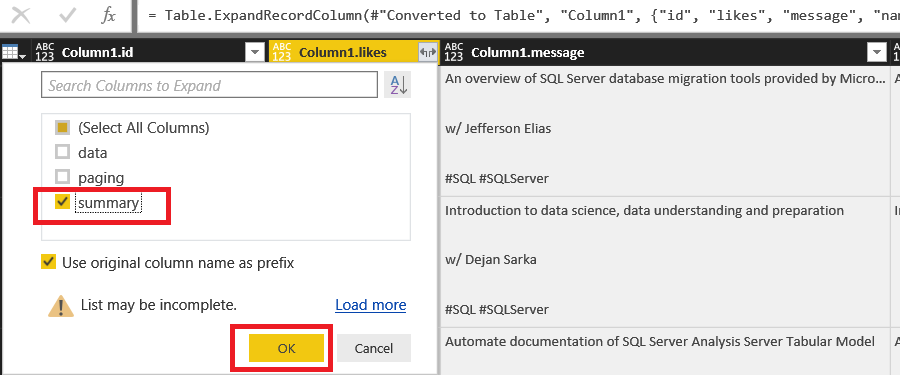 How to integrate Power BI to the Facebook Graph API