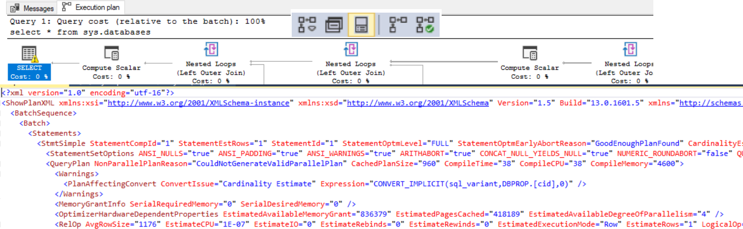 SQL Server Execution plan for 