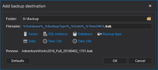 Multiple methods for scheduling a SQL Server backup