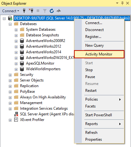 Activity Monitor option from SSMS's right-click context menu in Object Explorer for monitoring SQL Server performance