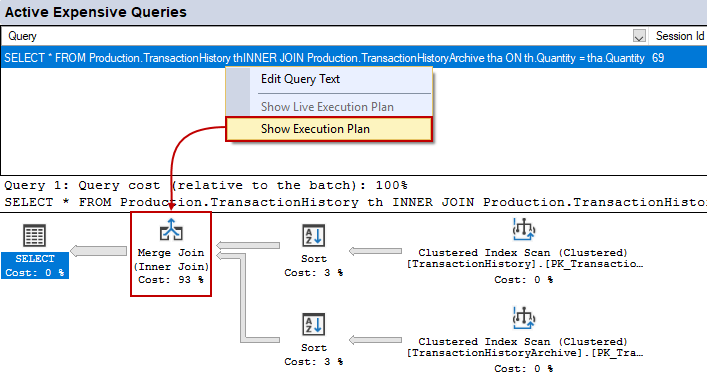 Active Expensive Queries pane of the Activity monitor showing an execution plan