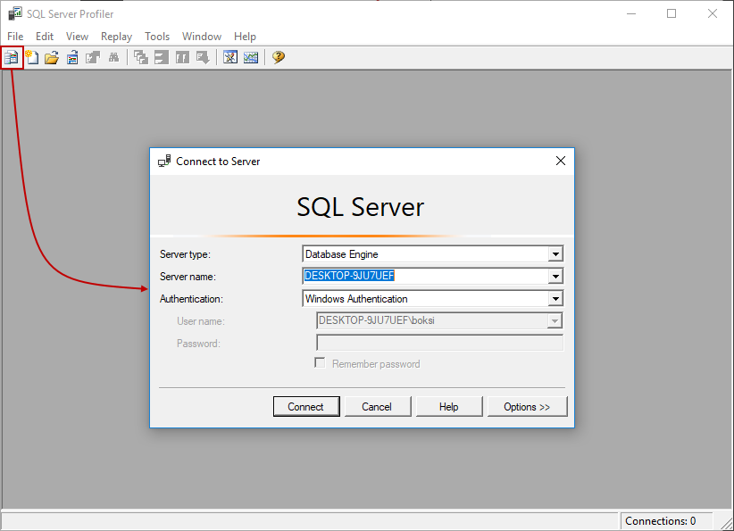 Connect to Server box from SQL Server Profiler