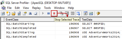 Button for stopping a trace within SQL Server Profiler window