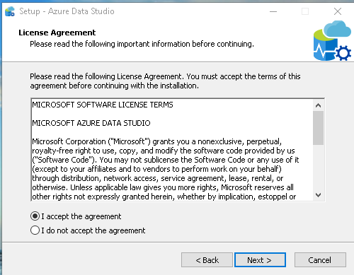 Accept License agreement for installing Azure Data Studio