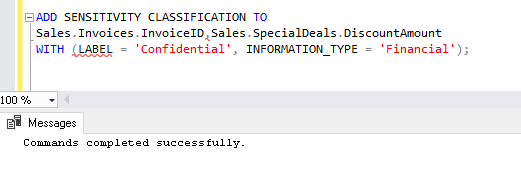ADD SENSITIVITY CLASSIFICATION' SQL Sever 2019