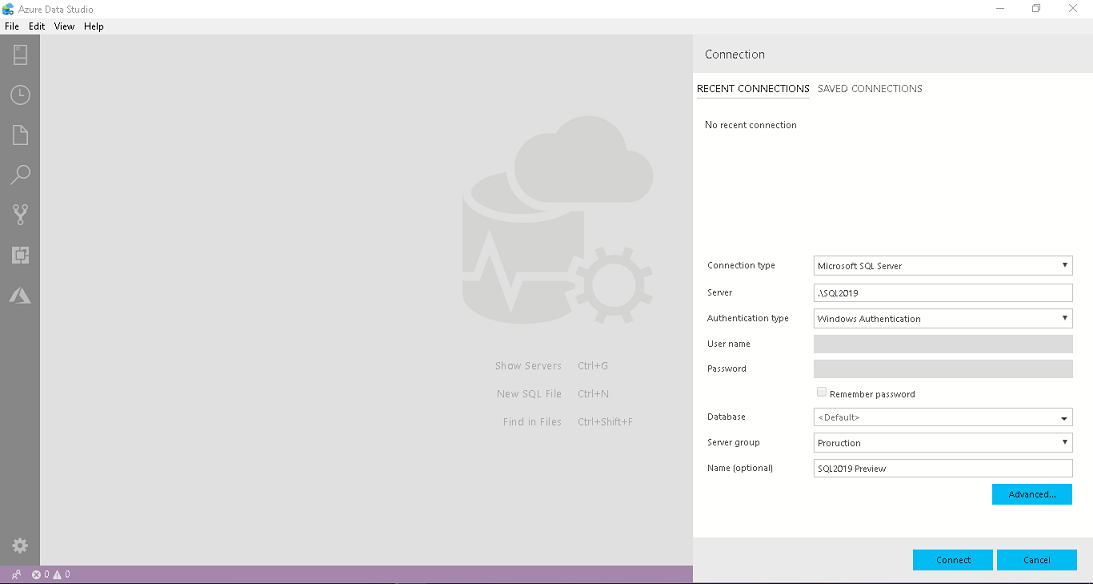 Azure Data Studio connection wizard