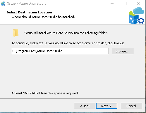 Azure Data Studio destination location