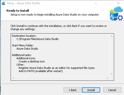Azure Data Studio install review settings