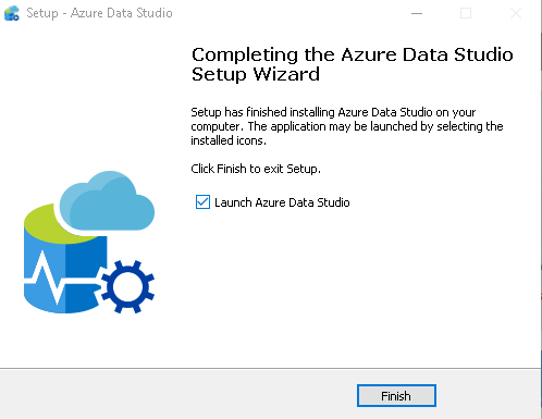 Azure Data Studio installation completion