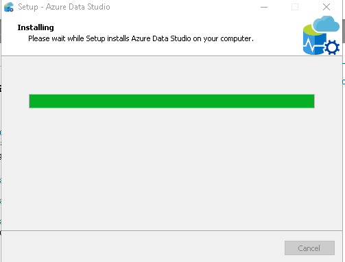 Azure Data Studio installation progress
