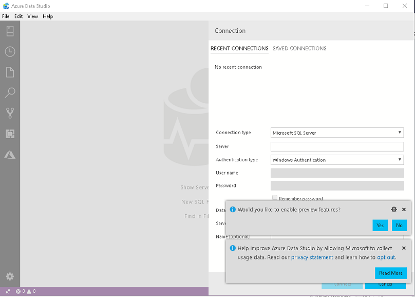 Azure Data Studio launch screen