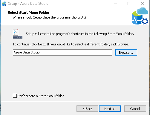 Azure Data Studio Start Menu folder