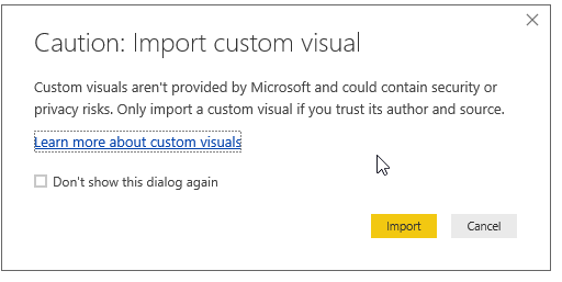Caution message before installing Custom visuals.