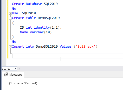 Create database and table to prepare for the demo.