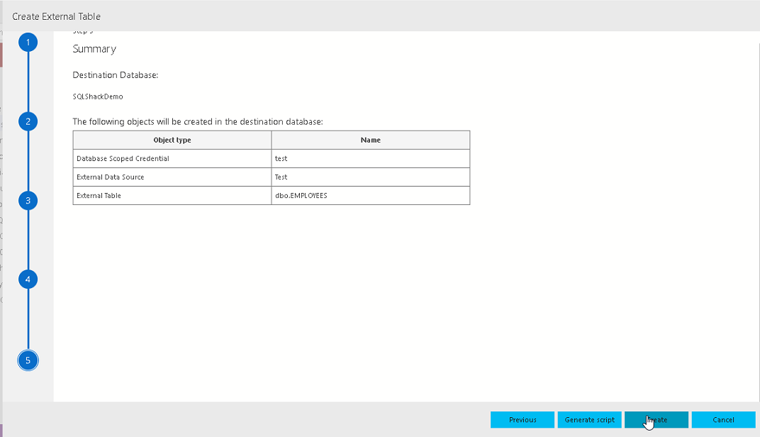 Create External table in Azure Data Studio External table wizard
