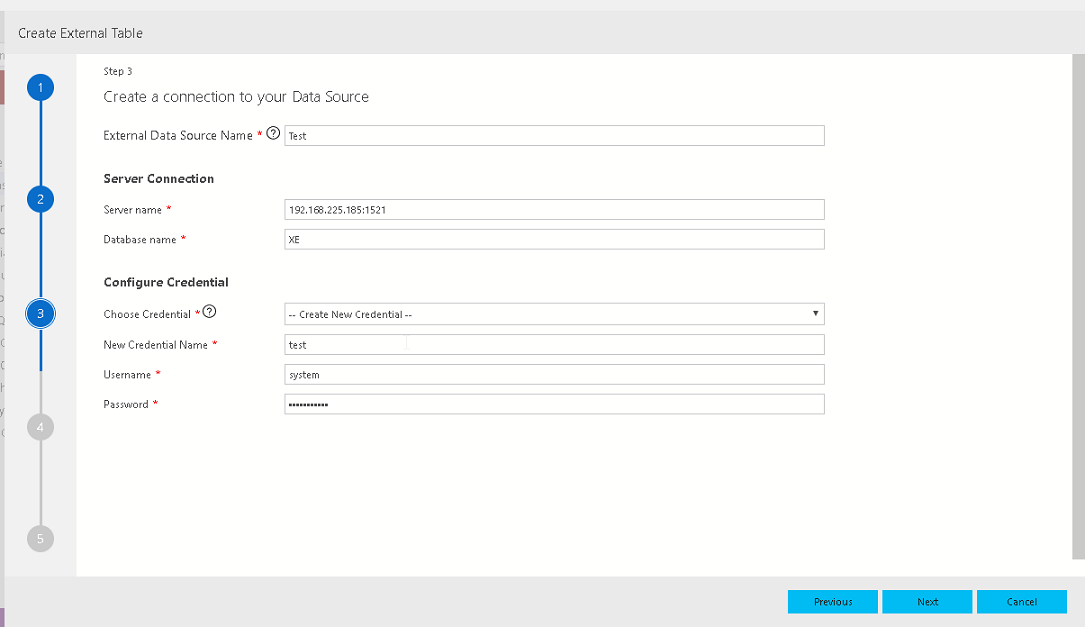 Data Source configuration in Azure Data Studio External table wizard