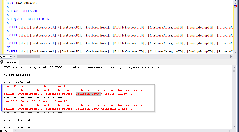 Data truncation error SQL Server 2019