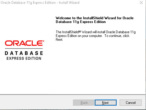 Download Oracle Express Edition 11g Release 2 installation wizard welcome screen