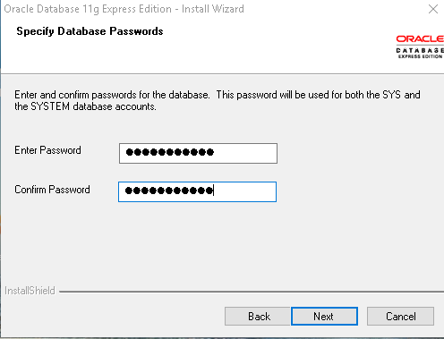 Download Oracle Express Edition 11g Release 2 installation create SYS and SYSTEM account password