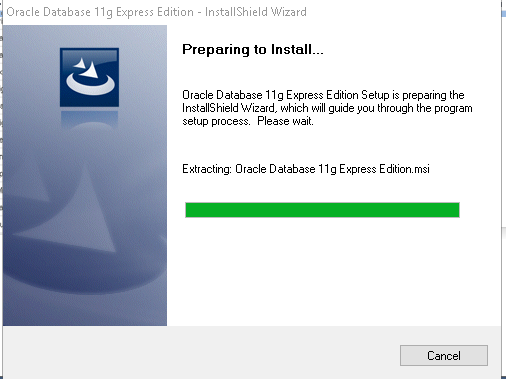 Download Oracle Express Edition 11g Release 2 installation wizard