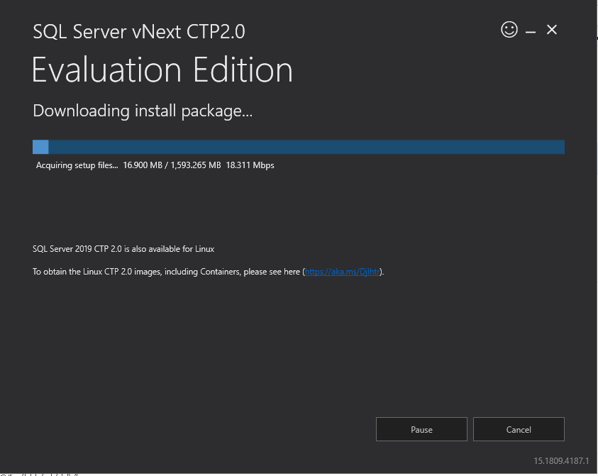 Download progress for SQL Server vNext CTP2.0 installation media