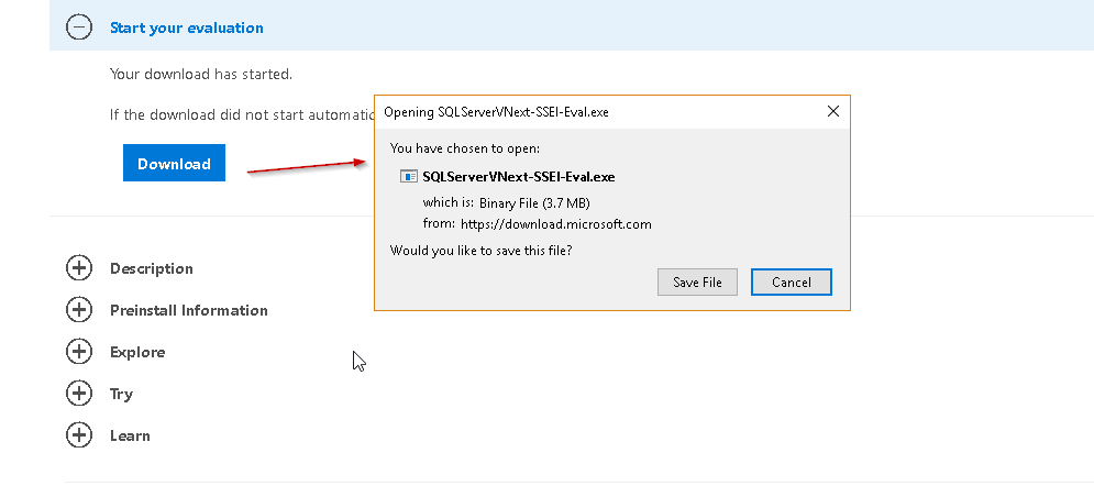 Download SQL Server VNext 2.0 Set up