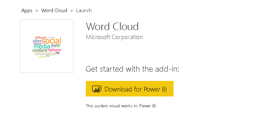 Download Word Cloud App for Power BI