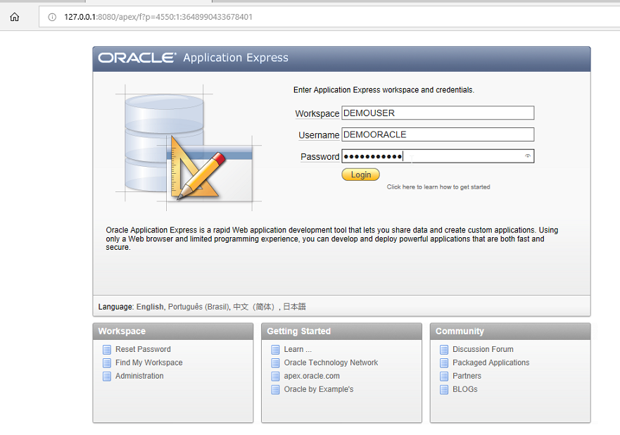Enter the credentials Oracle WorkPlace