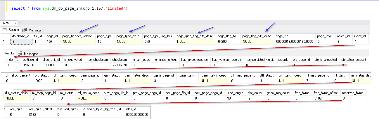 Execute and view output of new DMF sys.dm_db_page_info