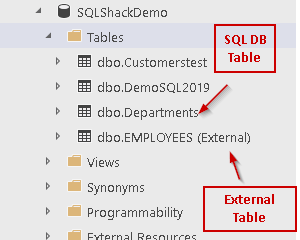 External table and relational DB table in Azure Data Studio