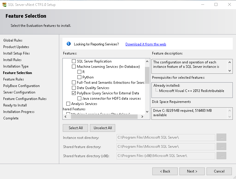 Feature Selection in SQL Server 2019