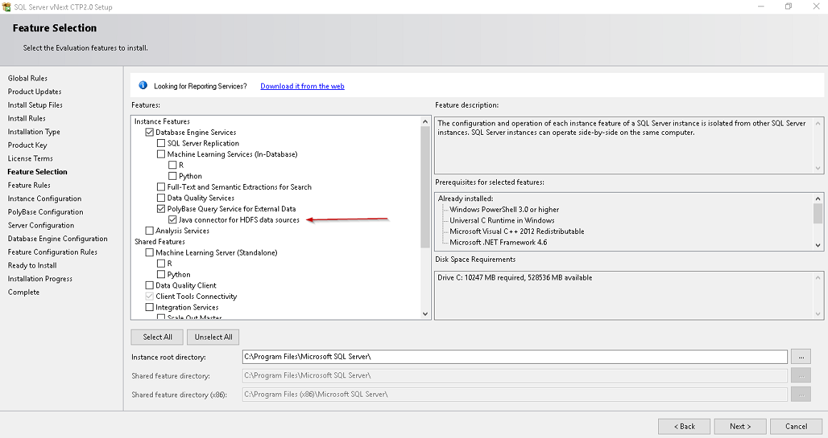 Feature selection in SQL Server vNext CTP 2.0