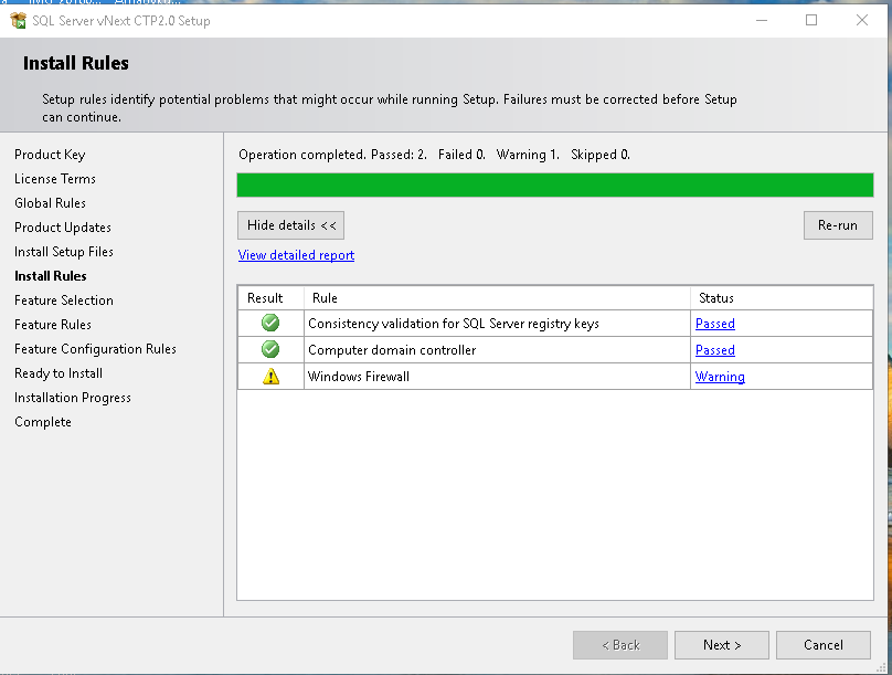 Install Rules SQL Server vNext CTP2.0