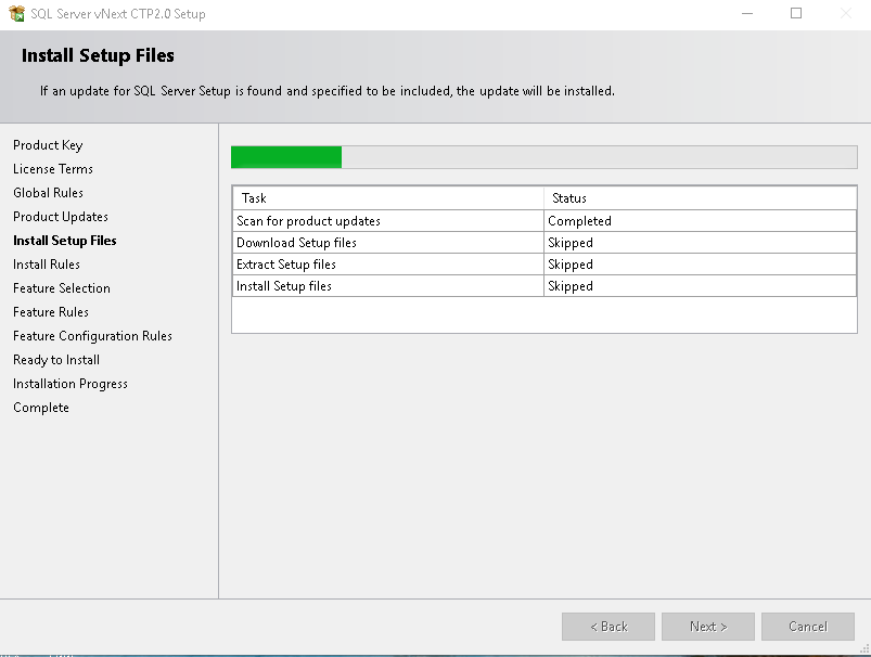 Install Set up files in SQL Server vNext CTP2.0