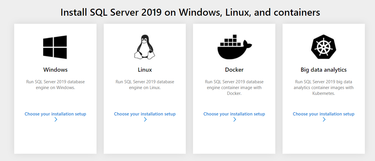Install SQL Server 2019 options on differnt environments