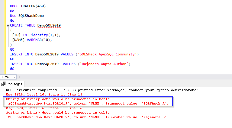 New Error message fo data truncation in SQL Server 2019