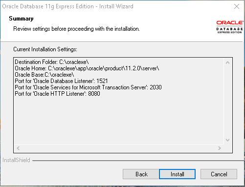 Oracle Express Edition 11g Release 2 installation summary