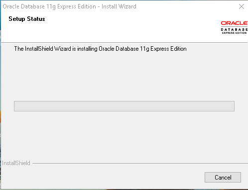 Oracle Express Edition 11g Release 2 installation progress