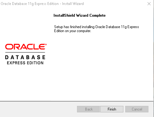 Oracle Express Edition 11g Release 2 installation completion