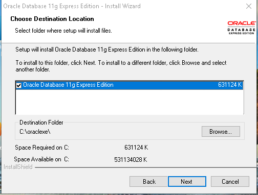 Oracle Express Edition 11g Release 2 installation destination location