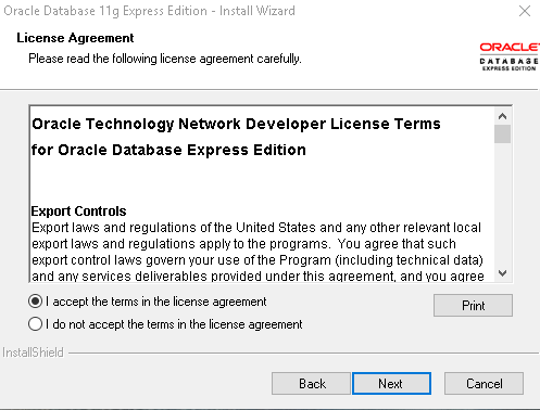 Oracle Express Edition 11g Release 2 license agreement