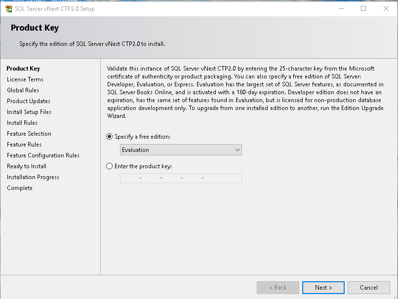 Specify edition in SQL Server Installation Center